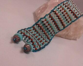 Beaded blue handwoven peyote  bracelet