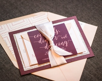 Modern Wedding Invitation, Glitter Burgundy and Blush Invitations with Ribbon, Custom Party Invite Suite - Whimsical Calligraphy SAMPLE