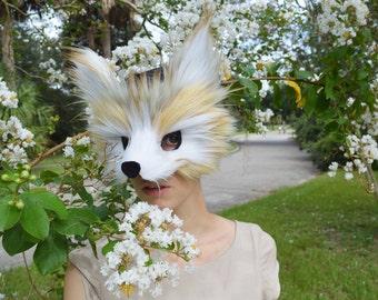 Faux Fur Fennec Fox Mask, handmade