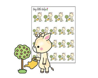 Planner Stickers Giraffe Water Plants