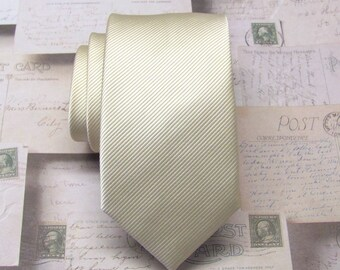 Mens Ties. Necktie Champagne Pale Tan Stripes Men's Skinny Tie