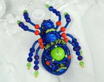 Bead embroidered spider brooch | One Of A Kind | Statement brooch | Insect jewelry pin | Unique Anniversary Birthday Christmas gift for her