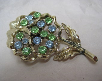 Flower Blue Green Rhinestone Brooch Gold Vintage Pin
