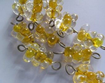 Vintage Glass Beads (2)(22x9mm) Golden Yellow Givre Bumpy Connector Beads
