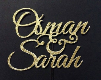 Custom Couple Wedding Cake Topper - Gold Silver Glitter - Shaadi Mabrook Cake Topper Nikah Walimah Muslim Wedding Islamic Wedding Marriage