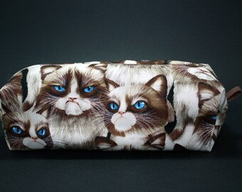 Boxy Makeup Bag - Grumpy Cat Zipper - Pencil Pouch