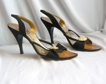Vintage BALLY Haute Couture Slingback Sandals / Strappy High Heel Shoes / size 7 .5 Eur 38 UK 5 / Black Suede Leather 1980s