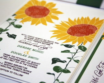 Sunflower Wedding Invitation, Pocketfold Wedding Invites Rustic Invitation Set Summer Country Weddings Spring Wedding Sunflower Template