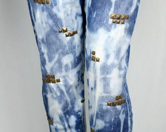 Reworked bleach and antique brass colour studded boyfriend jeans UK22/24