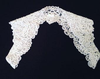 Wedding Bridal White Beaded Sacalloped Lace Topper Keyhole Back Backless Open Back Bolero Shrug Jacket MADE TO ORDER