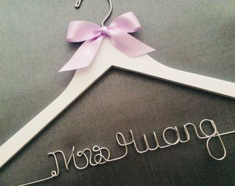 Quality Wedding Dress Hanger with Satin Ribbon Accent, Many Ribbon and Wire Colors, Personalized Hanger, Custom Hanger, Last Name Hanger