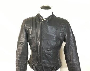 80's motorcycle leather jacket black mens size 42