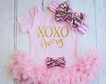My First Valentines, Baby Girl Valentines, Baby's First Valentines, Baby Girl's Clothing, Personalized, Daddy's valentines