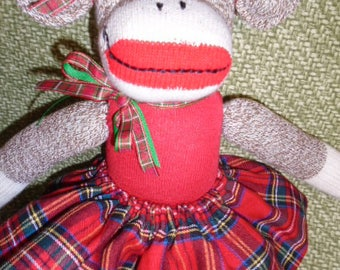 Mad Over Plaid/Classic Brown Red Heel Sock Monkey Girl Doll In Colorful Plaid Skirt