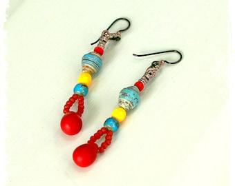 Colorful bohemian earrings for women, Bohemian tribal earrings, Hippie earrings, Boho earrings for her, Boho chic earrings for her