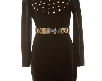 Star Studded LBD Black Dress by Kathryn Conover Vintage Wool Stars