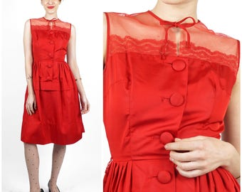 Vintage 50s/60s Ruby Red Sleeveless Party Dress with Illusion Bodice and Bow by Vicky Vaughn | XS/Small