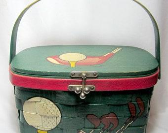 Caro-Nan Purse Golf Basket Vintage Wood Retro Mid Century Lunch Basket Nine Hole
