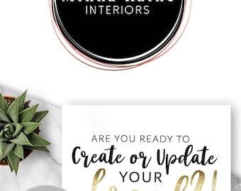 257 - LOGO, Premade Logo Design, Branding, Blog Header, Blog Title, Business, Brand, Blogger, Rose Gold, Pink Gold, Modern, Chic, Edgy