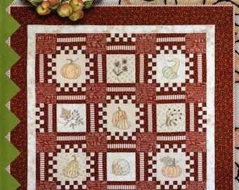 Fall Quilt Pattern, Pumpkin Quilt Pattern, Harvest Hopscotch, Quilt Pattern, by Crabapple Hill 00272
