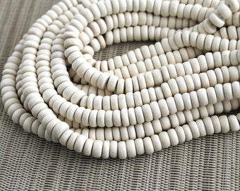 8mm White Ivory Wood Pucalet Rondelle Beads - Bleached  - 15 inch strand - 3AP8-2