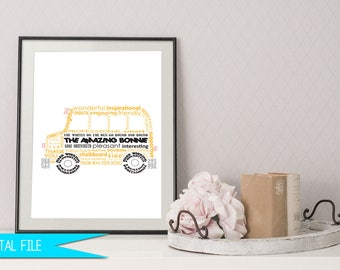 Bus Driver Gift, School Bus Driver Gift, Thank You Gift, Teacher Appreciation Gift, Bus Driver Printable, School Bus Word Art, Personalized