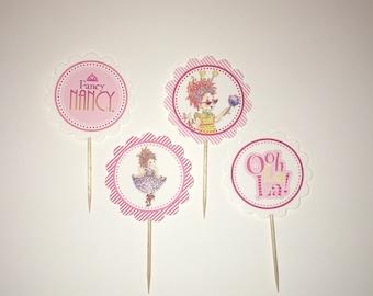 Fancy Nancy - 12 cupcake toppers