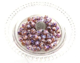 130 -8mm Loose Spray Painted Transparent Glass Beads Purple/Orange/White (b95e)