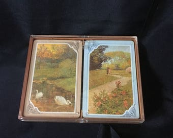 Vintage Hallmark Double Deck Bridge Playing Cards Plastic Coated Reverie Pattern, Vintage Hallmark Landscape Playing Cards