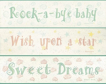 Child's Room or Baby Nursery. Fairytale Quotation Prints by Donna Atkins. Wish Upon a star. Rock-a-bye baby. Sweet Dreams.