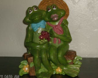 Frog Couple On Park Bench