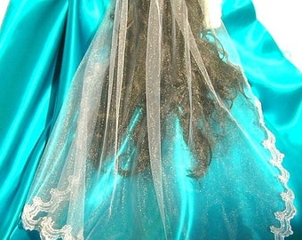 On Sale Mantilla Style Veil With 2 Inch Sparkly Scalloped Lace, Diamond White, Elbow Length, THE EMMA