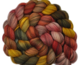 Hand dyed roving - Merino Humbug wool combed top spinning fiber - 4.2 ounces - Gracious Host 1