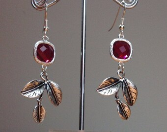 Dark red crystal and tree branch earrings