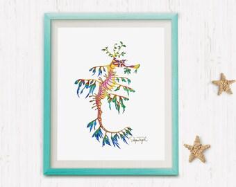 Leafy Sea Dragon Watercolor Print. Oceanic Illustration. Nautical Art Print