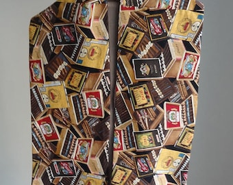 GIFT for Him Man's Scarf Cigars-print Cotton-brown/beige