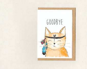 GOODBYE . greeting card . custom - good bye farewell bon voyage good luck sorry get well soon . meditating cat . crazy cat lady . australia