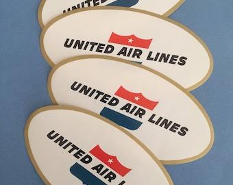 4 Vintage United Airlines Luggage Seals