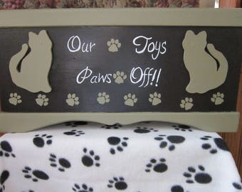 FREE SHIPPING!! Our Toy's Paws Off! ToyBox for your Cat,  It is Hand Painted and Handmade.Personalize.Only ships within the lower 48