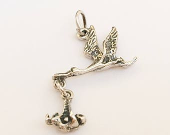 925 Sterling Silver Charm Baby New Mom Stork Charm Pendant-1 piece