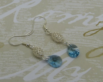Blue Pearl Earrings 925 sterling silver and Swarovski Crystal drops