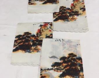 Four Vintage Oriental Cloth Napkins