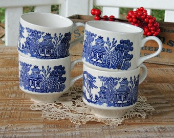Vintage White and Blue Transferware Tea Cups Set of 4 English Tea Cups, Coffee Cups, Tea Party, Antique Wedding, Bridesmaid Gifts
