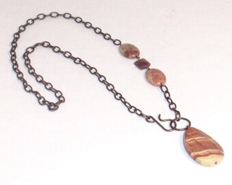 Red Creek Jasper and Antique Copper Chain Front Closure Pendant Necklace