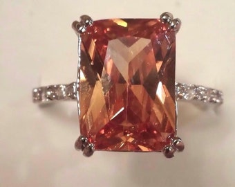 Honey & White Topaz Emerald Cut Gemstone Sterling Silver Plated Ring, 8 ct.  Size - 10