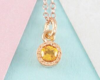 November Birthstone Necklace, Citrine Necklace, Rose Gold Necklace, Gemstone Pendant, Birthstone Gift, Simple Necklace, Rose Gold Pendant