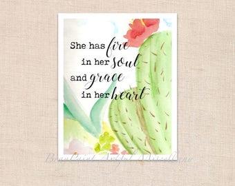 "Fire in her Soul cactus - Art Print of original watercolor painting - 8"" x 10"""