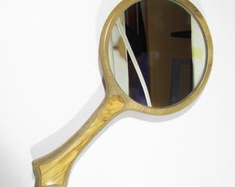 Hand Mirror walnut - olive wood Handmade 5 inch