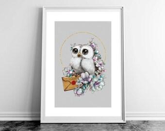 Poster. white owl illustration