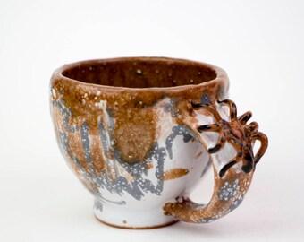Handmade cup with spider on handle,coffee  cup , ceramics and pottery, Stoneware mug, espresso  mug, Pottery Mug, ceramic mug, mug, gift cup